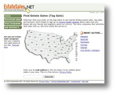 Redesigned EstateSales.NET Website in 2005