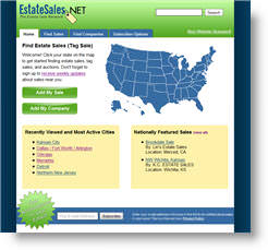 Redesigned EstateSales.NET Website in 2008